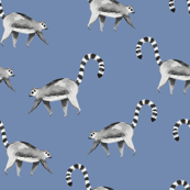 Lemur animal chambray blue/ Hand painted lemur fabric/ Tropicla jungle animal