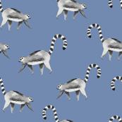 Lemur animal chambray blue/ Hand painted lemur fabric/ Tropicla jungle animal