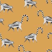 Lemur animal black and white mustard/ Hand painted lemur fabric/ Tropicla jungle animal