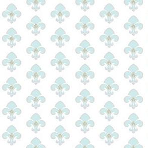 Fleur de Lis SMALL 133 - gray white seafoam green center