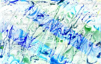 watercolor marble stripes blue-green