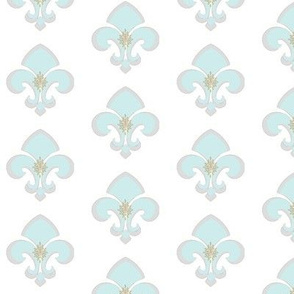 Fleur de Lis MED233 - gray white seafoam green center