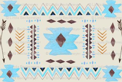 Aztec Tribal Coordinate (cream) – Blue Southwest Nursery Arrows GingerLous