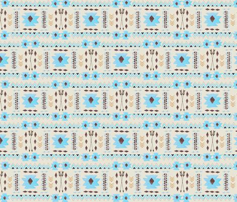 Aztec Tribal Coordinate (cream) – Blue Southwest Nursery Arrows GingerLous fabric by gingerlous on Spoonflower - custom fabric