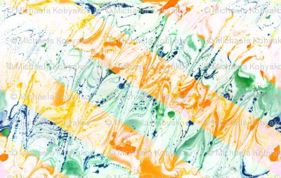 watercolor marble stripes orange-green
