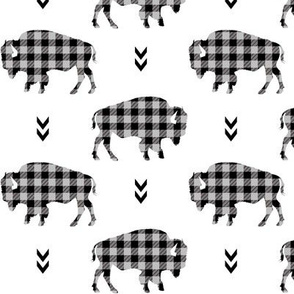 Bison - Buffalo Plaid Grey + Black Tribal Baby Nursery Ginger