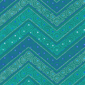 Koru Chevrons Teal 150