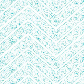 Koru Chevrons Turquoise on White 150