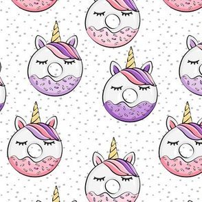 unicorn donuts (purple and pink) on spots
