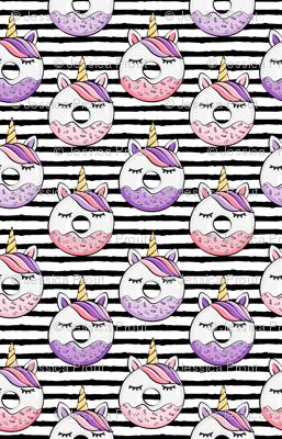 unicorn donuts (pink and purple) black stripes
