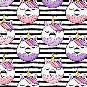 unicorn donuts (pink and purple) black stripes