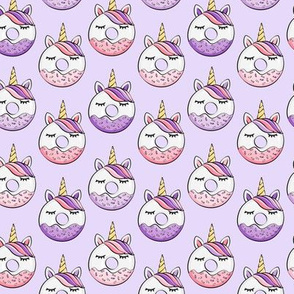 (small scale) unicorn donuts (pink and purple) light purple