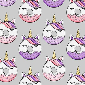 unicorn donuts (purple and pink) grey