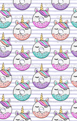 unicorn donuts - purple stripes