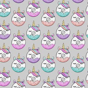 (small scale) unicorn donuts on grey