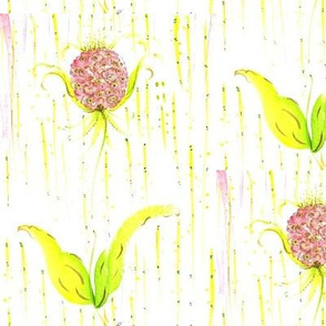 watercolor pink flower yellow stripe