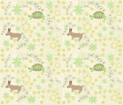 The Tortoise and the Hare Fable fabric by gargoylesentry on Spoonflower - custom fabric