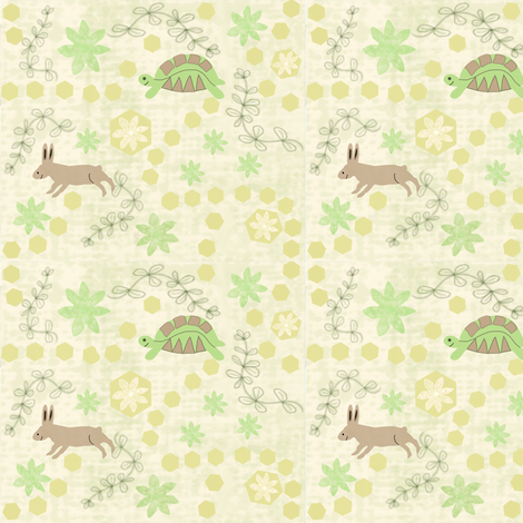 The Tortoise and the Hare Fable + fabric by gargoylesentry on Spoonflower - custom fabric