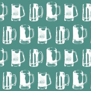 Beer Mugs on Turquoise // Small