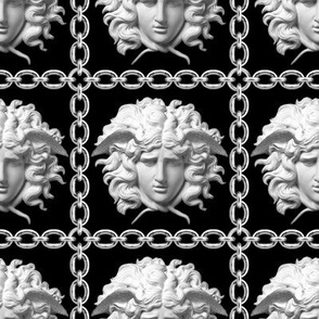2 interlinked criss cross interconnected connected chains gold medusa versace inspired  baroque rococo black silver white square links gorgons Greek Greece mythology