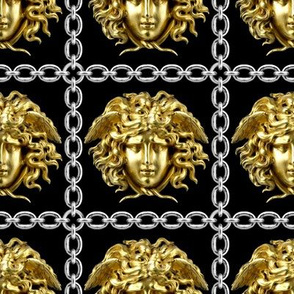 4 interlinked criss cross interconnected connected chains gold medusa versace inspired  baroque rococo black gold silver square links gorgons Greek Greece mythology