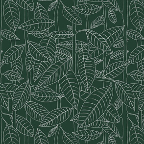 White Outlined leaves on green background