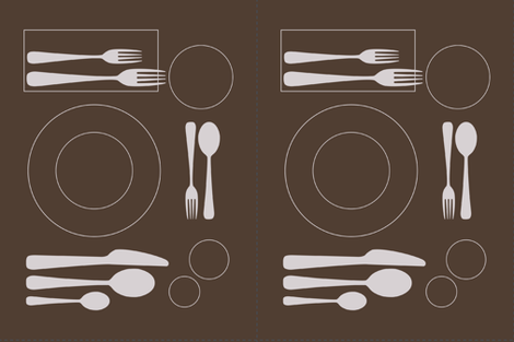 placemat formal setting_silver on choc revised fabric by zen_studio on Spoonflower - custom fabric