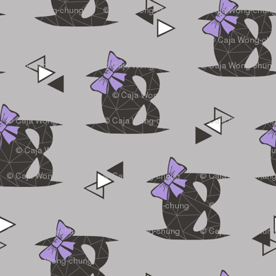 Girly Geometric Bat Mask with Purple Lilac Bow on Grey Rotated