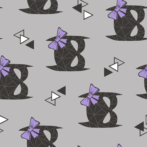 Girly Geometric Bat Mask with Purple Lilac Bow on Grey Rotated fabric by caja_design on Spoonflower - custom fabric