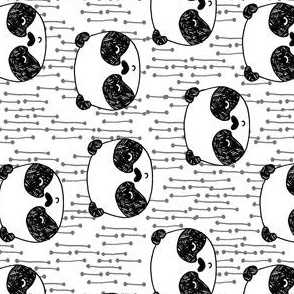panda // railroad black and white cute panda head illustrated scandi panda design  by andrea lauren andrea lauren fabric (smaller)