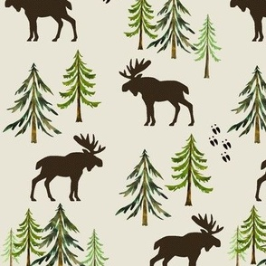 Forest Moose Tracks - Woodland Pine Trees - LARGE SCALE A