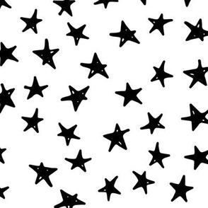 Stars - Hand Drawn Geometric Shapes Inky Monochrome Black and White Baby Nursery Kids Children GingerLous