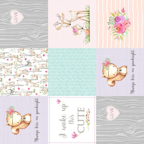 Baby Girl Woodland Patchwork Quilt Top (ROTATED) - Nursery Bedding Blanket Pink Mint Peach Lavender GingerLous