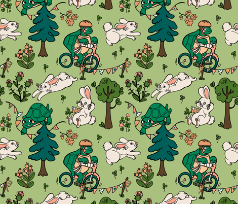 Tortoise and the Hare fabric by mecardinal on Spoonflower - custom fabric