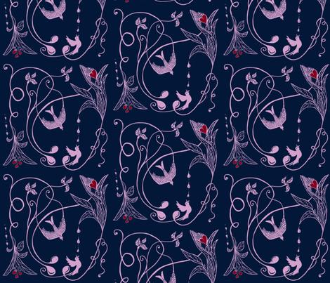 Navy Orchid Romance and Tears fabric by salzanos on Spoonflower - custom fabric