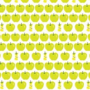 fresh green apples, some eaten up