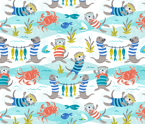 Otterly Fun - Summer Nautical fabric by heatherdutton on Spoonflower - custom fabric