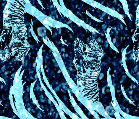 Tribal Tiger stripes print - vertical midnight frost large fabric by rusticcorgi on Spoonflower - custom fabric