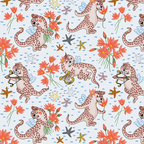 Otterly Love (icy blue) fabric by helenpdesigns on Spoonflower - custom fabric