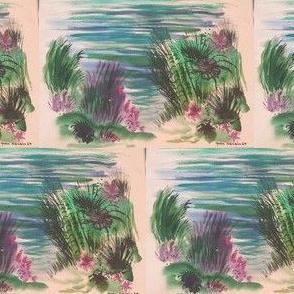 1969 Seascape Watercolor