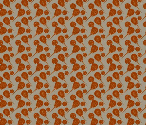 small horseshoe crabs and sand dollars rust on gray fabric by heretherebemonsters on Spoonflower - custom fabric