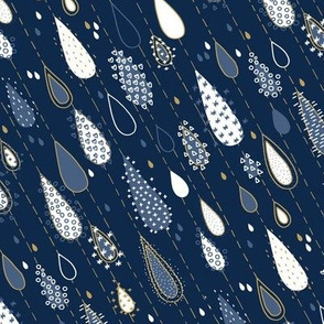 Midnight Rain Navy and Gold - small