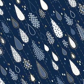 Midnight Rain Navy and Gold - small