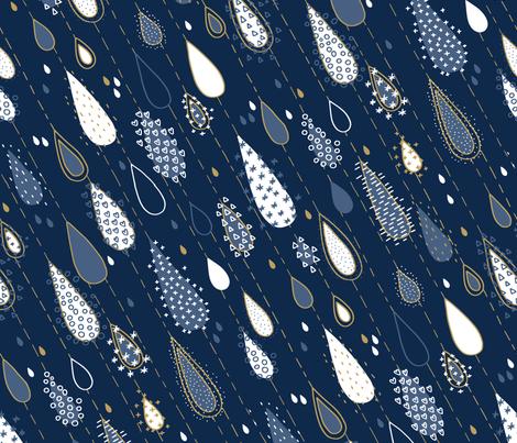 Midnight Rain Navy and Gold fabric by marketa_stengl on Spoonflower - custom fabric
