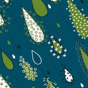 Rain Drops Dark Cyan and Green