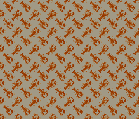 small lobster rust on green fabric by heretherebemonsters on Spoonflower - custom fabric