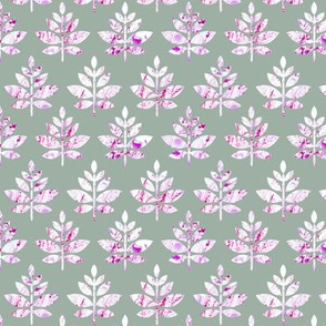 marble leaves pink on green