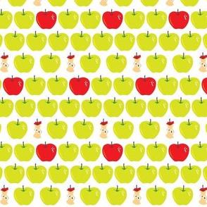 fresh apples, some eaten up