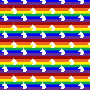 Rainbow Unicorn Polka Dots Horizontal Stripes (White)