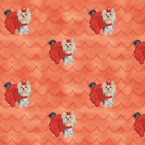 """Yorkie Orange Clouds - about 1 1/2"""" fabric by sherry-savannah on Spoonflower - custom fabric"""